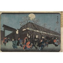 Utagawa Hiroshige: Night View of Nakanomachi with Cherry Blossoms in the Yoshiwara - Minneapolis Institute of Arts