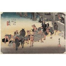 歌川広重: Changing Porters and Horses, Fujieda - ミネアポリス美術館