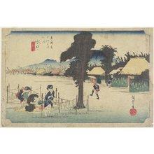 Utagawa Hiroshige: Drying Gourd Shavings, Minakuchi - Minneapolis Institute of Arts