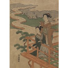 磯田湖龍齋: Man and Woman on Veranda above Rice Paddies - ミネアポリス美術館