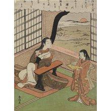 鈴木春信: Illustration of a Poem by Kakinomoto Hitomaro - ミネアポリス美術館