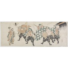 Katsushika Hokusai: Six Male Gods Performing the Lion Dance - Minneapolis Institute of Arts