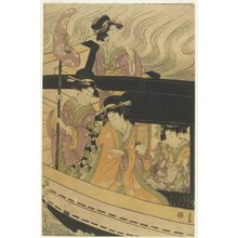 Kikugawa Eizan: Four Courtesans and an Attendant Girl on Boat - Minneapolis Institute of Arts