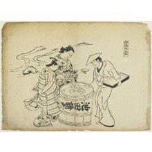 奥村政信: Three Sake Tasters - ミネアポリス美術館