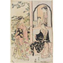 鳥居清長: Four women in Mitate as Ushiwaka Serenading Jo-ruri-hime - ミネアポリス美術館