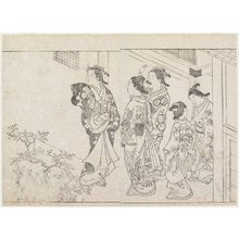 Hanabusa Shigenobu: (Five Courtesans in a Courtyard) - Minneapolis Institute of Arts