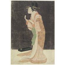細田栄之: Misayama of Chojiya House Going to Bed - ミネアポリス美術館