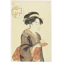 勝川春潮: Waitress Okita of Naniwaya Teahouse - ミネアポリス美術館