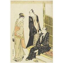 勝川春潮: Ichikawa Monnosuke II, Onoe Matsusuke at a Teahouse - ミネアポリス美術館