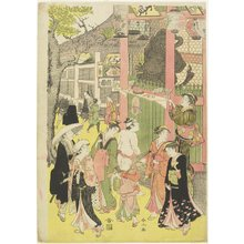 Katsukawa Shunzan: (Crowd at the Gateway of Asakusa Temple) - Minneapolis Institute of Arts