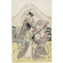 Hosoda Eiri: (Two Women Traveling by Horse on the Foot of Mt. Fuji) - Minneapolis Institute of Arts