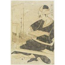 喜多川歌麿: Weaving on a Loom - ミネアポリス美術館