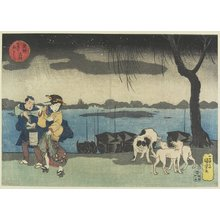 Utagawa Kuniyoshi: Yanagibashi Bridge at Ryogoku - Minneapolis Institute of Arts
