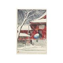 川瀬巴水: Snow at Kiyomizu Hall in Ueno - ミネアポリス美術館
