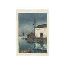 川瀬巴水: Ushibori Moat in Rain - ミネアポリス美術館