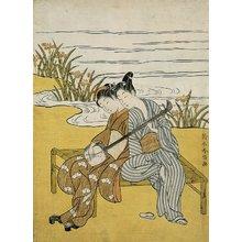 鈴木春信: Lovers Playing the Same Shamisen as a Mitate of Emperor Xuanzong and Yang Guifei - ミネアポリス美術館