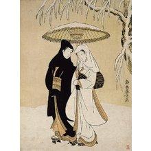 鈴木春信: (Lovers Sharing an Umbrella) - ミネアポリス美術館