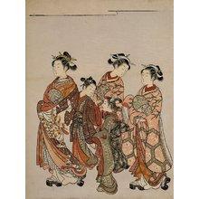 鈴木春信: Courtesan with Attendants on Parade - ミネアポリス美術館
