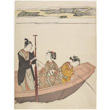 鈴木春信: Fishing Near Mimeguri Shrine on the Sumida River - ミネアポリス美術館