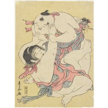 Katsukawa Shunzan: (Children Wrestling) - Minneapolis Institute of Arts