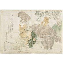 蹄斎北馬: (Ohara Wood Sellers and a child on a cow) - ミネアポリス美術館