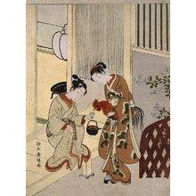 鈴木春信: Lovers Plying a Rooster with Sake - ミネアポリス美術館