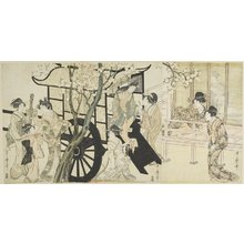 Kitagawa Utamaro: (Viewing Cherry Blossoms Likened to an Imperial Carriage Scene) - Minneapolis Institute of Arts