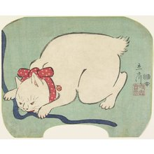 Utagawa Hiroshige II: A White Cat Playing with a String - Minneapolis Institute of Arts