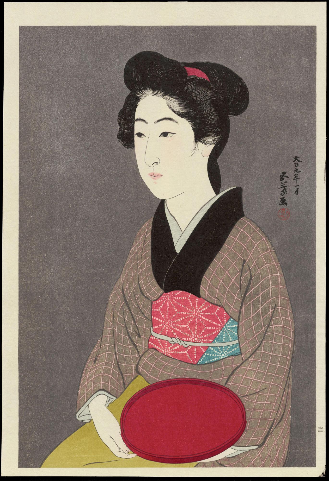 Hashiguchi Goyo: Waitress with a Tray - 紅ふで - Ohmi Gallery