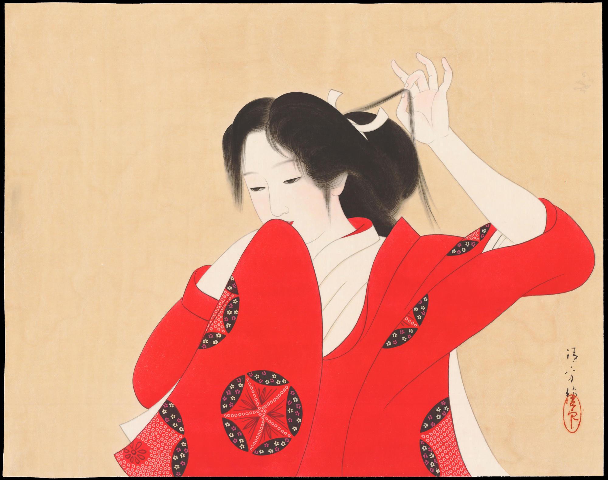Kaburagi Kiyokata: Bijin in Red Kimono (1) - Ohmi Gallery