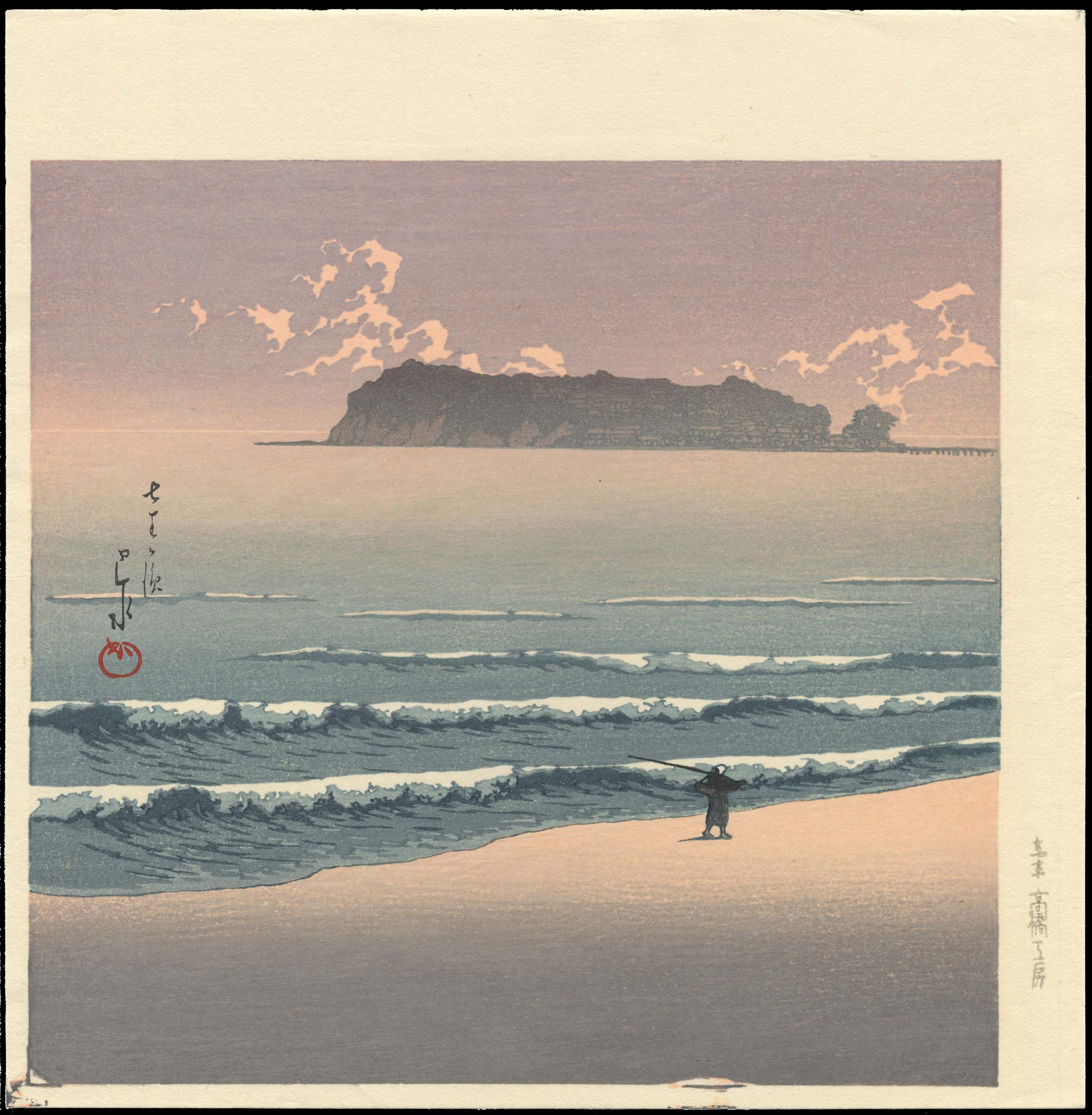 kawase hasui: shichirigahama-seven mile beach - ohmi gallery - ukiyo