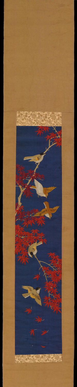 無款: Sparrows and Maple Tree - Ohmi Gallery