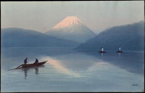 Aoki R: Boats On Lake Near Fuji (1) - Ohmi Gallery