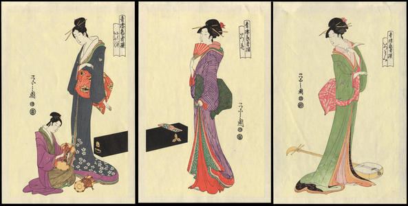 Hosoda Eishi: Three Courtesans Playing Music (1) - Ohmi Gallery