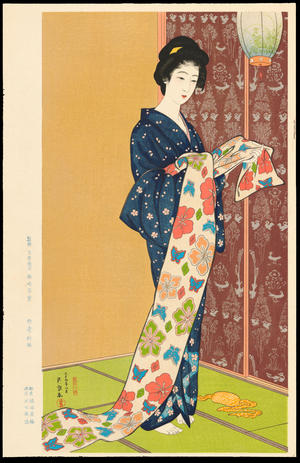橋口五葉: Daughter in a Summer Kimono - 夏装之娘 - Ohmi Gallery