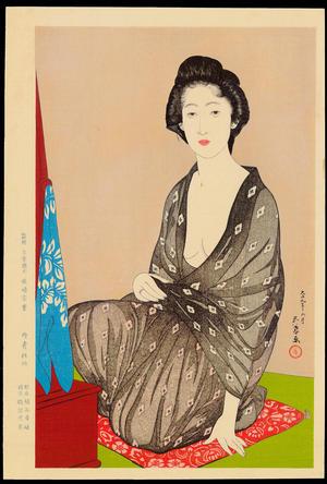 橋口五葉: Summer Kimono (In a Light Garment, a Woman from Naniwa) - 夏衣の女(うすごろも浪花の女) - Ohmi Gallery