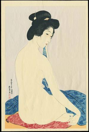 Hashiguchi Goyo: Woman after a Bath (Delicate Skin) - 化粧の女 (やわはだ) - Ohmi Gallery