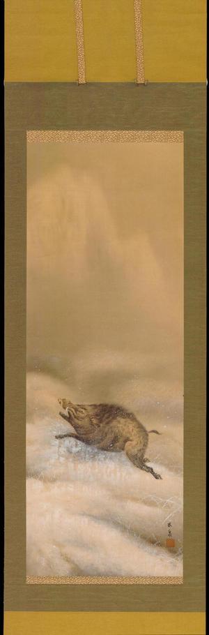 Hosen: Wild Boar in Snow - 猪図 - Ohmi Gallery