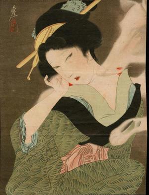 Igawa Sengai: Bijin in Green Kimono (1) - Ohmi Gallery