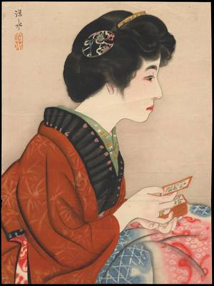 伊東深水: Bijin Playing Karuta (1) - Ohmi Gallery