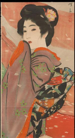 伊東深水: Bijin with Flower Ornament (1) - Ohmi Gallery