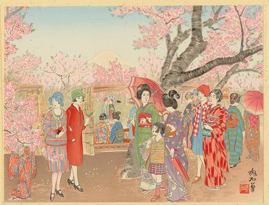 Jokata Kaiseki: Mt Fuji and the Cherry Blossoms on Asuka Hill - Ohmi Gallery