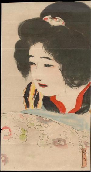 鏑木清方: Bijin and Flowers (1) - Ohmi Gallery