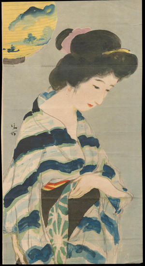 鏑木清方: Bijin and Lantern (1) - Ohmi Gallery