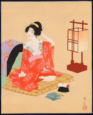 Kaburagi Kiyokata: Bijin Preparing for Sleep (1) - Ohmi Gallery