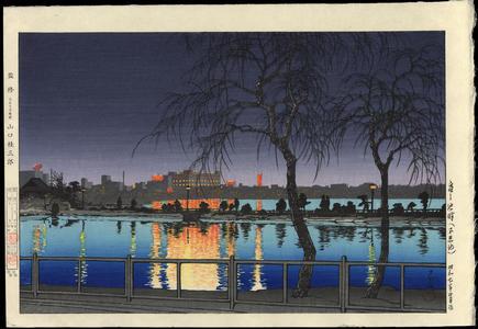 川瀬巴水: Night at the Pond Edge- Shinobazu Pond - 夜の池畔(不忍池) - Ohmi Gallery