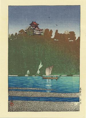 川瀬巴水: Kiso River- at Inuyama - 木曽川 - Ohmi Gallery