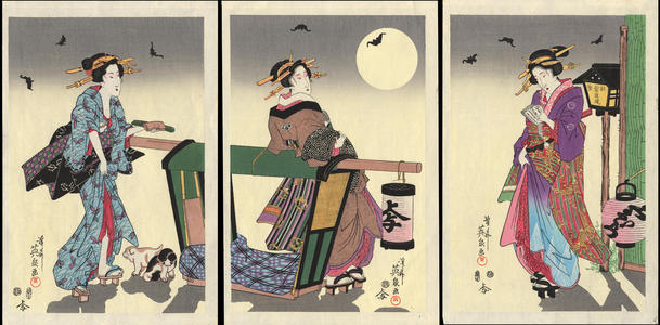 渓斉英泉: Three Courtesans on a Summer Night (1) - Ohmi Gallery
