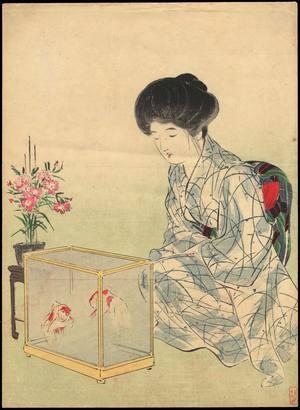 Takeuchi Keishu: Bijin with Goldfish (1) - Ohmi Gallery