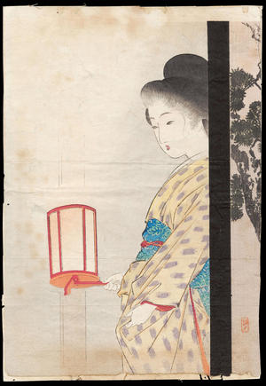 武内桂舟: Bijin Holding Lantern - Ohmi Gallery